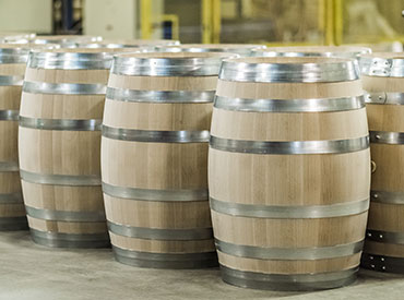 Finished American oak barrels